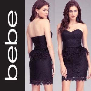NWT STRAPLESS FEATHER COCKTAIL LACE DRESS